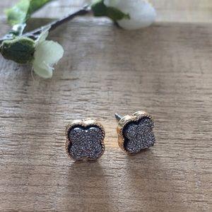 Hematite Druzy Post Earrings